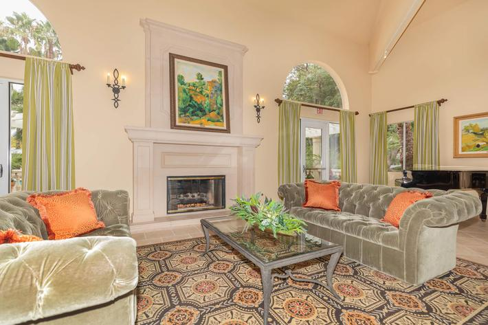 Cozy up to the fireplace at Summit at Warner Center