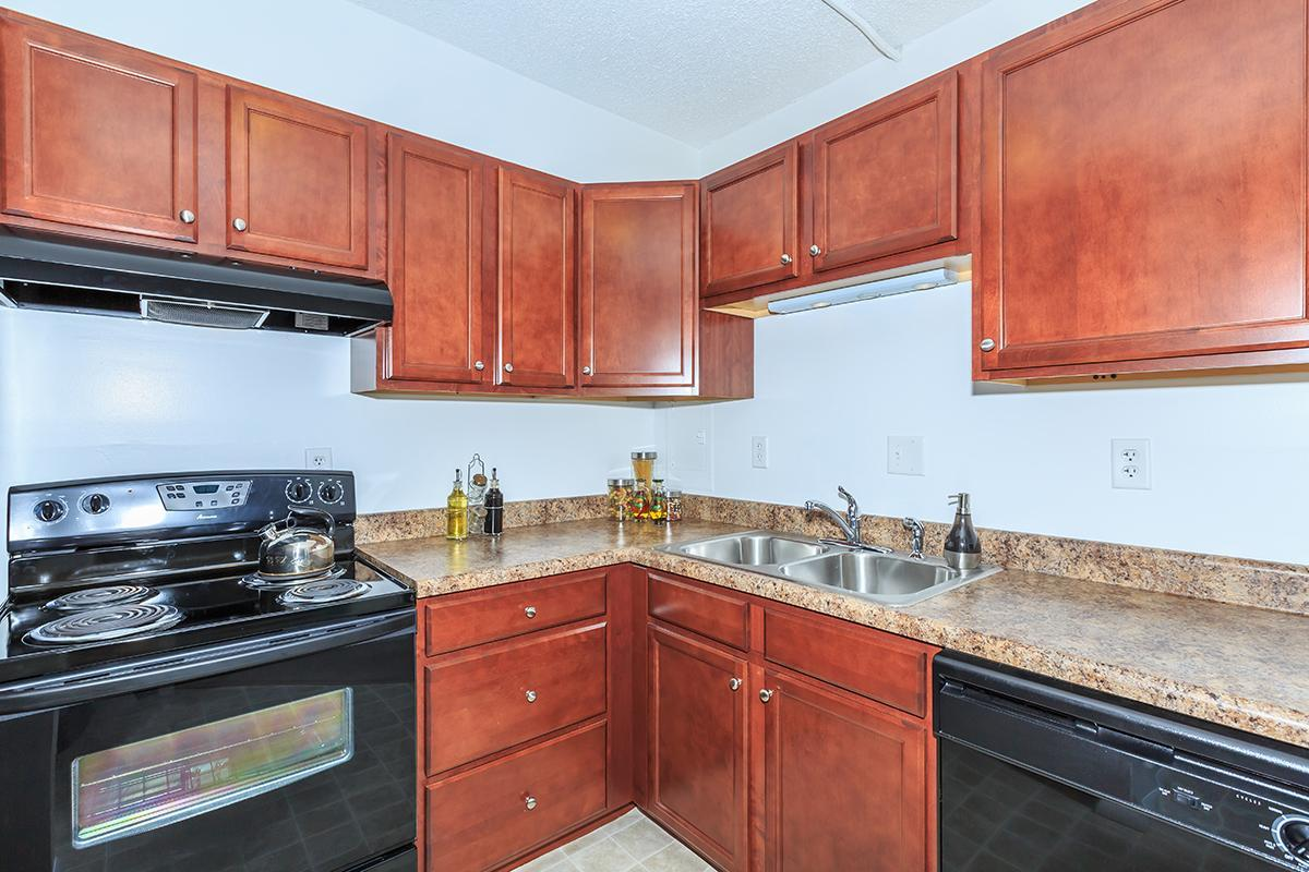 ALL-ELECTRIC KITCHEN AT NORTH WOOD APARTMENTS