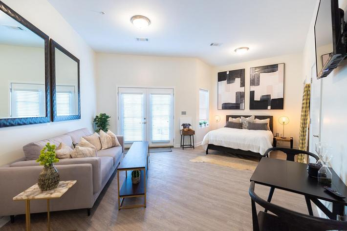 Spacious studio apartment at The Lofts at Brentwood in Nashville, Tennessee