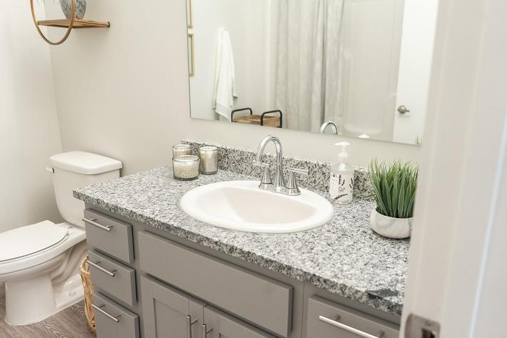 Bathroom of one bedroom apartment at The Lofts at Brentwood in Nashville, Tennessee