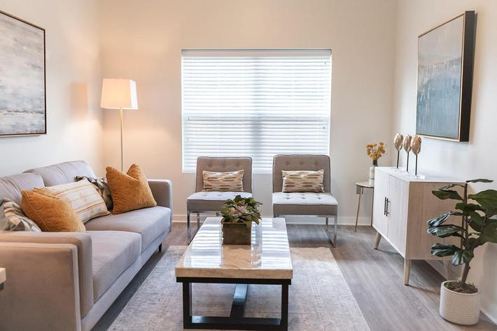 Living area in one bedroom apartment at The Lofts at Brentwood