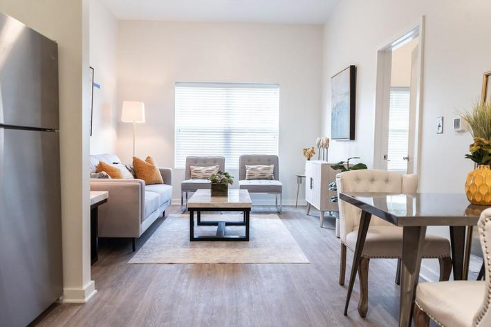 Open floor plan in one bedroom apartment at The Lofts at Brentwood