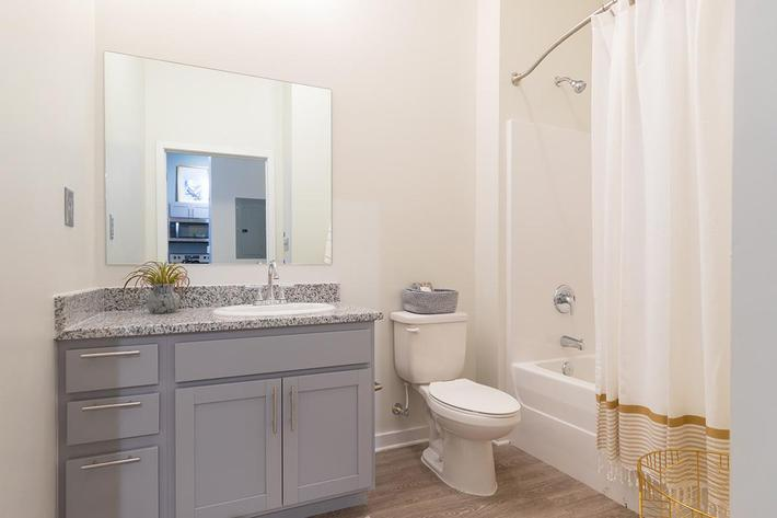 Beautiful bathroom in studio apartment at The Lofts at Brentwood