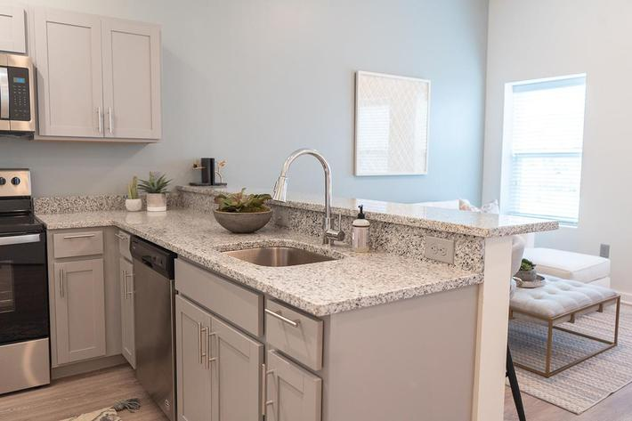 Breakfast bar in studio apartment at The Lofts at Brentwood in Nashville, TN