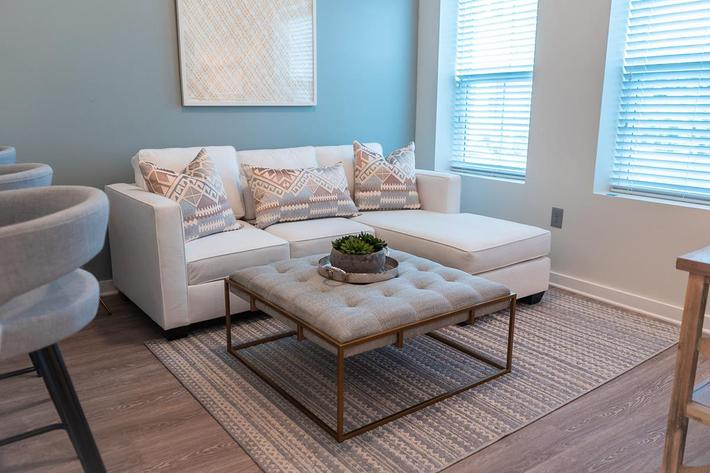 Living area of Oxford studio floor plan at The Lofts at Brentwood