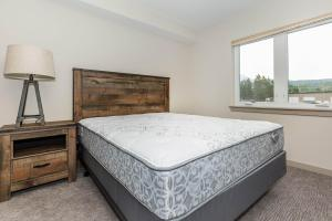 a large bed sitting in a room