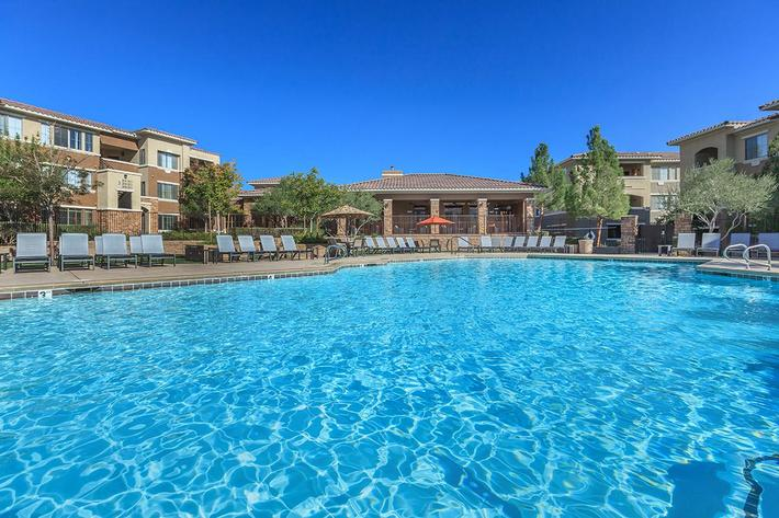 Sparkling Pool at The Pavilions At Providence Apartments in Las Vegas, NV