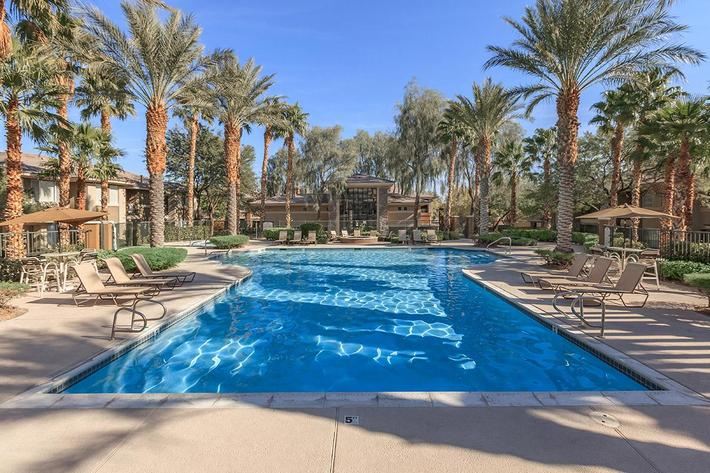 CATCH THE DAYTIME RAYS ON THE SUN DECK AT ST. CLAIR APARTMENTS IN LAS VEGAS, NEVADA