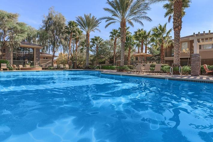 SPARKLING SWIMMING POOL AT ST. CLAIR APARTMENTS IN LAS VEGAS, NEVADA