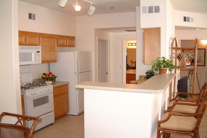fully equipped kitchen at St. Clair Apartments