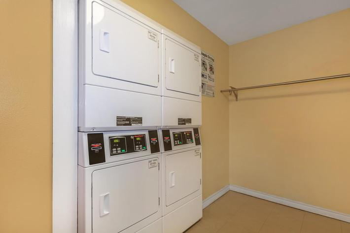 Dryers in the laundry facilities at The Park at Summerhill Road