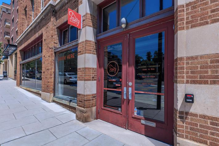 Access to shopping and dining at The Lofts at South Slope in Asheville, North Carolina.