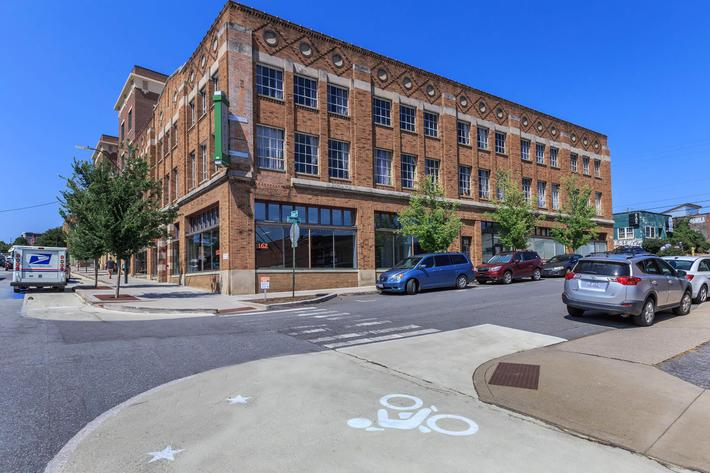 Beautiful brick building at The Lofts at South Slope in Asheville, North Carolina.