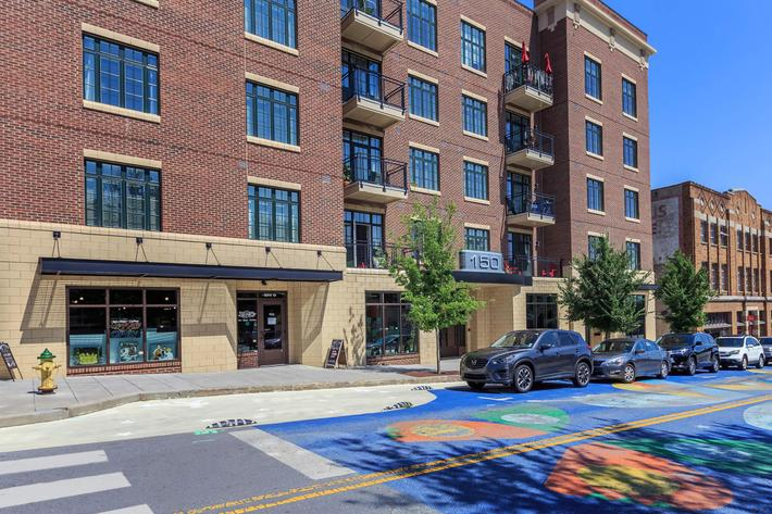 Exterior of the building at The Lofts at South Slope in Asheville, North Carolina.