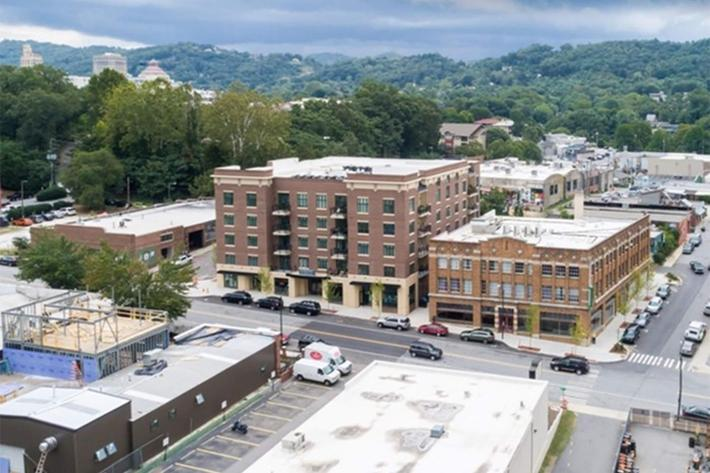 Mid-rise building at The Lofts at South Slope in Asheville, North Carolina.