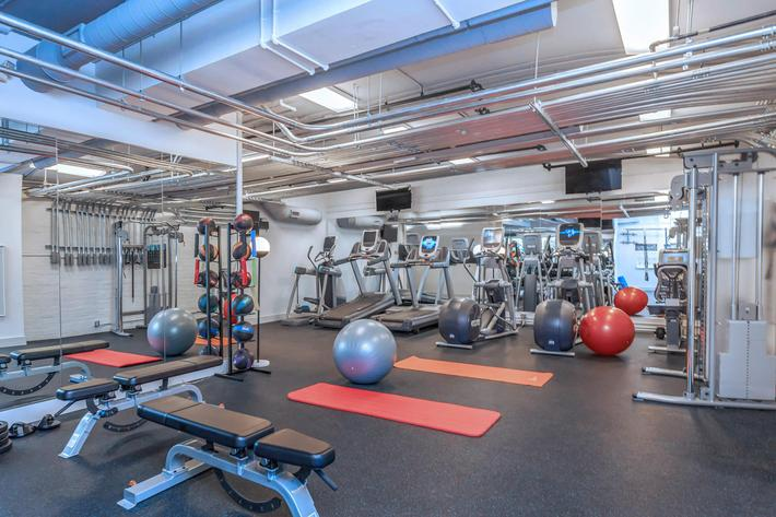 State-of-the-art fitness center at The Lofts at South Slope in Asheville, North Carolina.