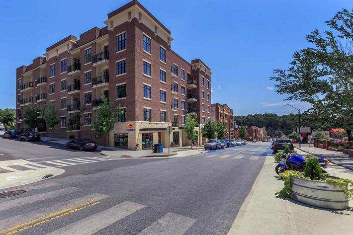 The exterior of the building at The Lofts at South Slope in Asheville, North Carolina.