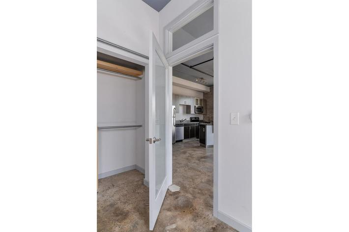 Closet space available at The Lofts at South Slope in Asheville, NC.