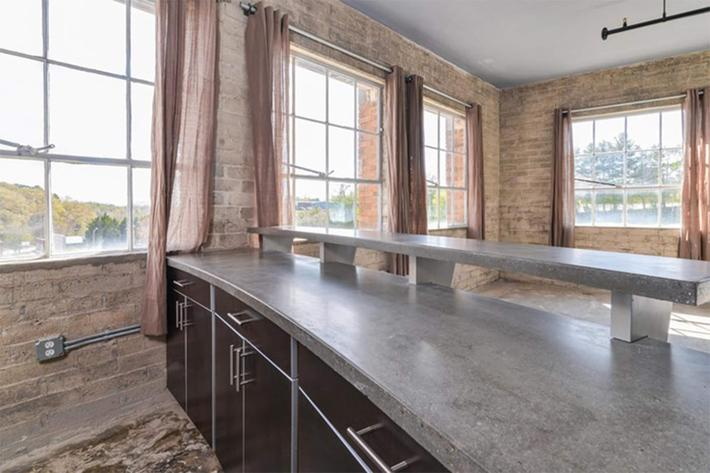 Concrete countertops at The Lofts at South Slope in Asheville, North Carolina.