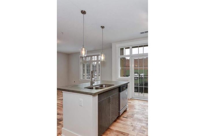 Contemporary kitchens at The Lofts at South Slope in Asheville, North Carolina.