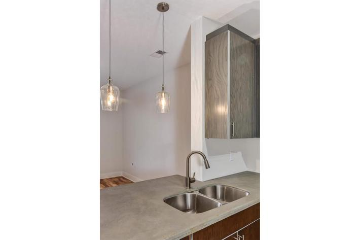 Gooseneck faucets available at The Lofts at South Slope in Asheville, NC.