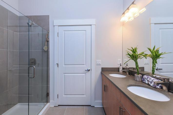 Modern bathrooms at The Lofts at South Slope in Asheville, North Carolina.