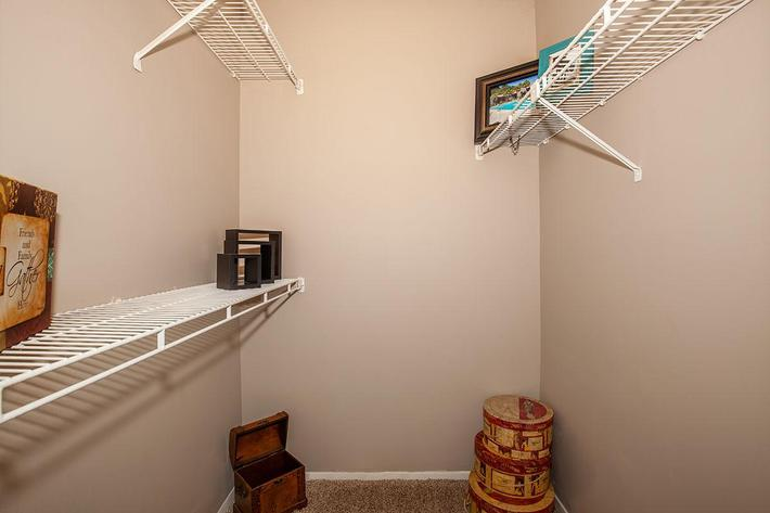 The Muscovy walk-in closet at Heron Walk Apartments in Jacksonville, Florida