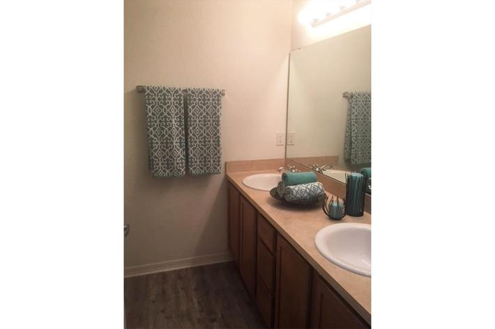 Master Double Vanity Here at Village at Laurel Meadows in Bartow, Florida