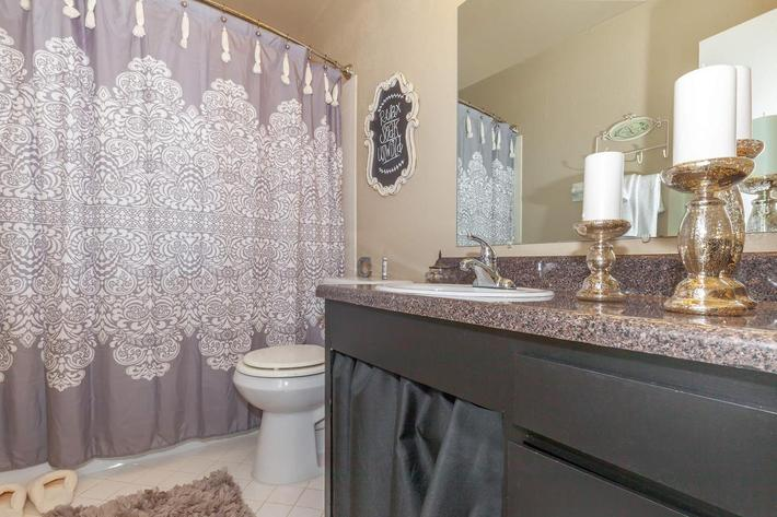Modern Bathroom Here at The Washington at Colony House in Murfreesboro, Tennessee
