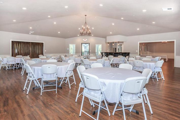 The banquet room at Crystal Tree provides lots of seating for guests