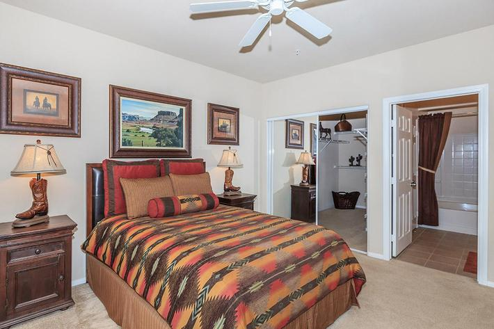 Spacious bedroom at The Palladium Apartments in Las Vegas, Nevada