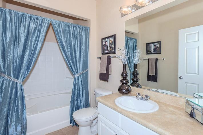 Elegant bathroom at The Palladium Apartments in Las Vegas, Nevada