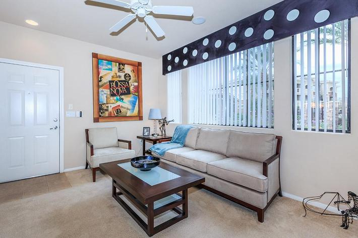Your new living room await at The Palladium Apartments in Las Vegas, Nevada