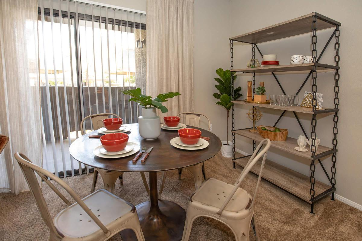 a table topped with lots of furniture