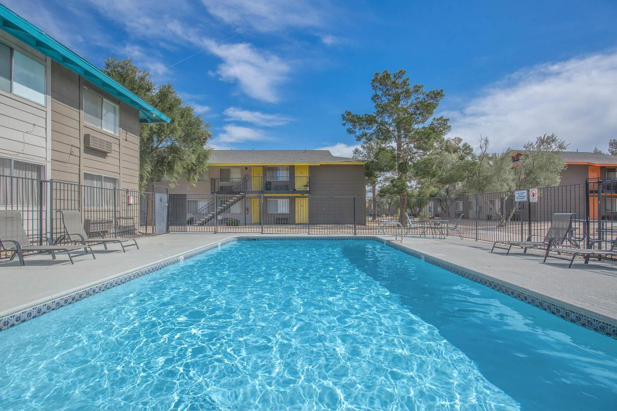 Sparkling Swimming Pool at Woodhaven Apartments in Las Vegas, Nevada