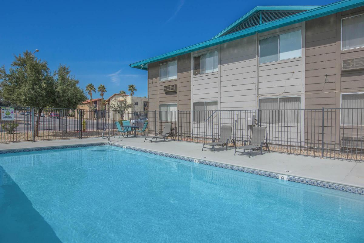 Cool off in the sparkling swimming pool at Woodhaven in Las Vegas, Nevada