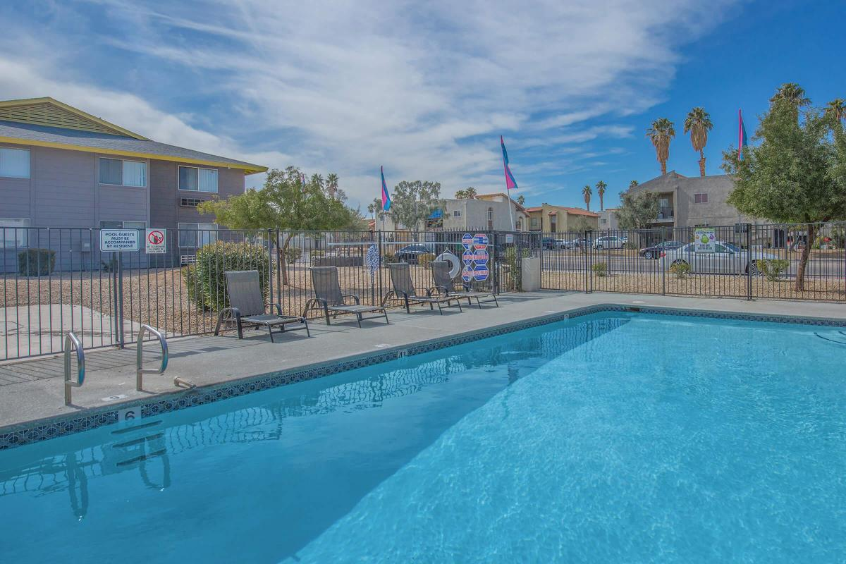 Lounge by the pool at Woodhaven Apartments in Las Vegas, Nevada