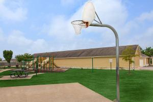 a close up of a basketball game in a park