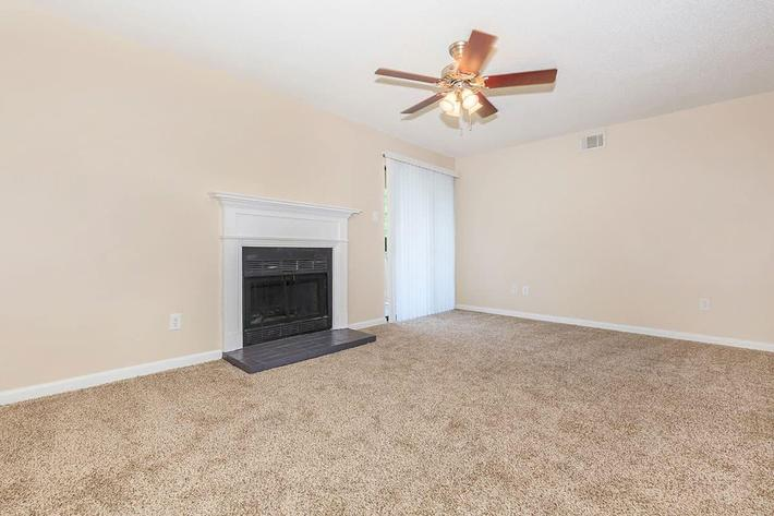 THE BLACK FIREPLACE NEXT TO THE PATIO DOOR IN A 2-BEDROOM 2-BATHROOM APARTMENT AT VAN MARK APARTMENTS IN MONROE, LA