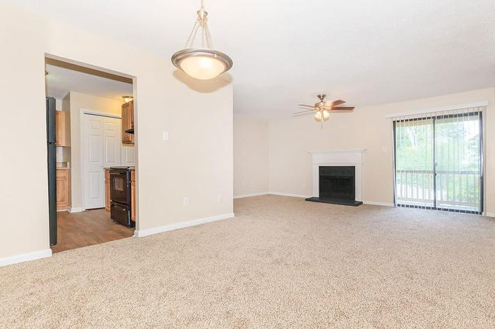 THE LIVING ROOM OF A 2-BEDROOM 2-BATHROOM APARTMENT INCLUDES A BLACK FIREPLACE AT VAN MARK APARTMENTS IN MONROE, LA