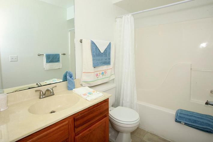 Modern bathrooms at Lakeland Landing in Lakeland, Florida.