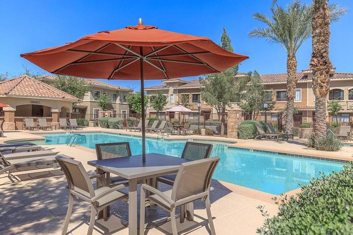 Poolside at The Paseo Apartments in Goodyear, Arizona