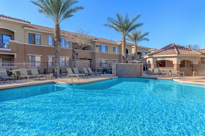 Shimmering Swimming Pools at The Paseo Apartments in Goodyear, Arizona