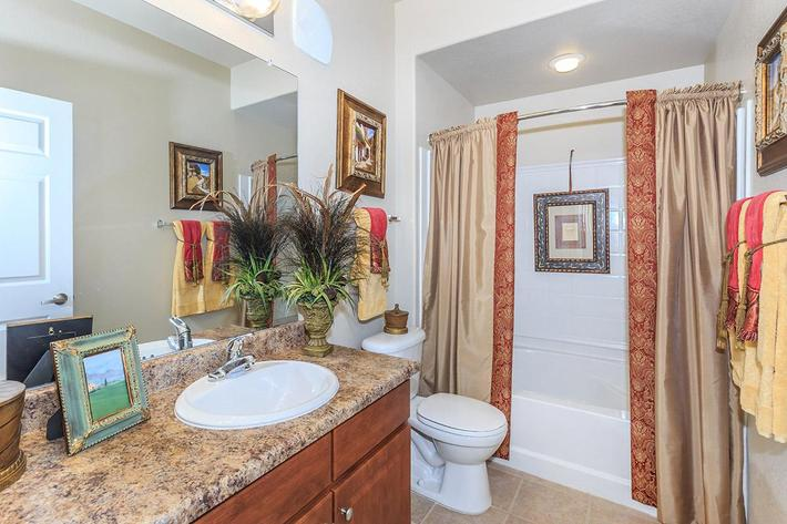 Modern Bathroom with Garden Tub at The Paseo Apartments