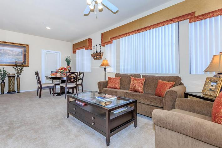 Vaulted or 9-foot Ceilings in Homes at The Paseo Apartments