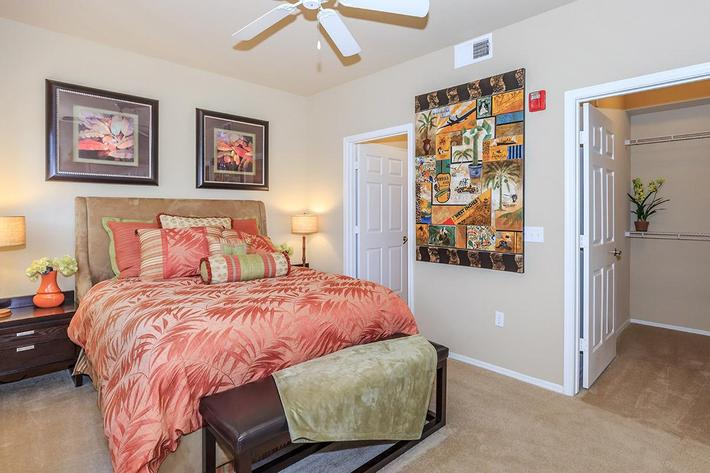 Ceiling Fans in Living Room and Master Bedroom at The Paseo Apartments