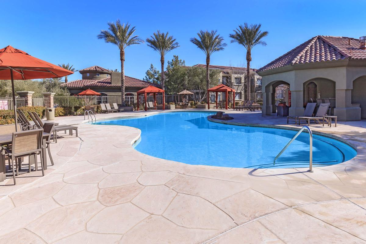 RESORT-STYLE POOL WITH POOLSIDE CABANAS