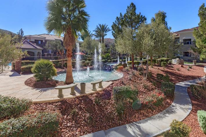 CASCADING WATER FEATURES AT THE FAIRWAYS AT SOUTHERN HIGHLANDS APARTMENTS