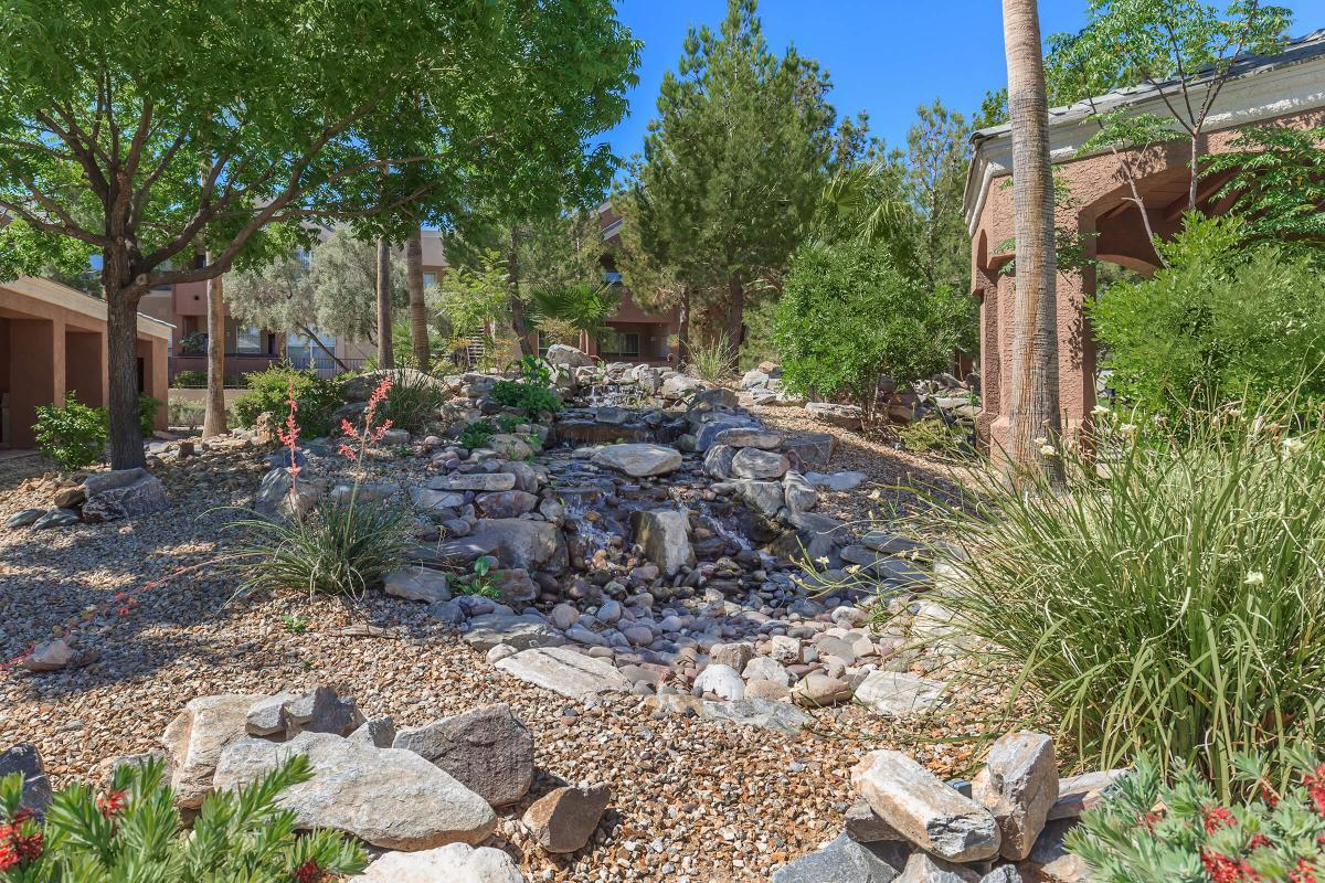 Cascading Water Feature at The Equestrian on Eastern Apartments in Henderson, NV