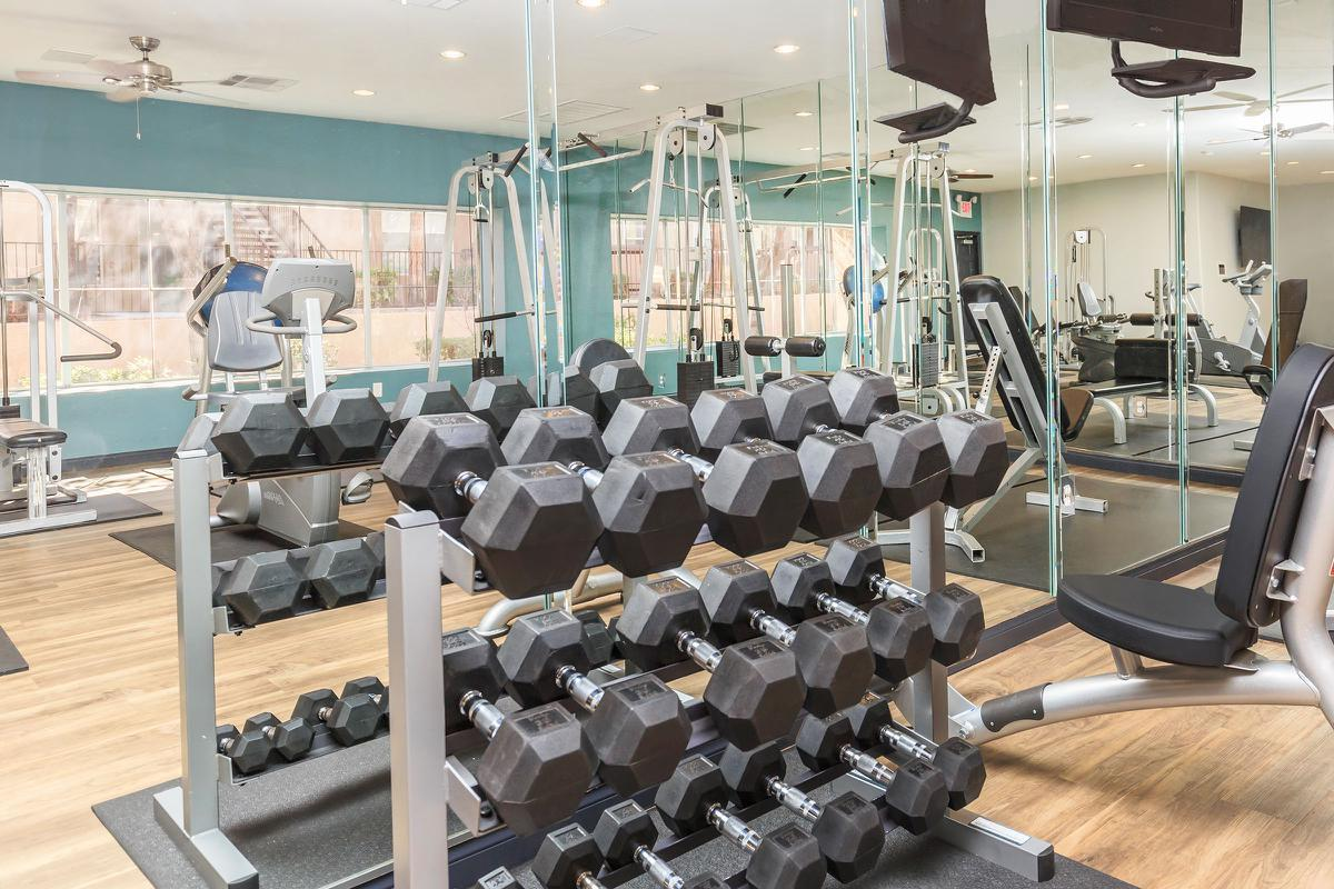 Free Weights in Our Fitness Center at The Equestrian on Eastern Apartments